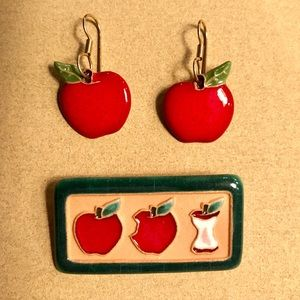 Hand crafted Apple Earring and Pin Set